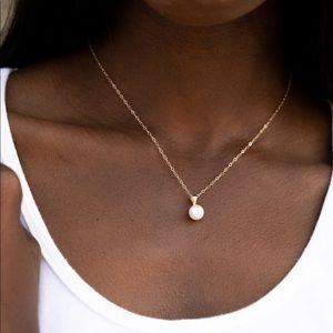 Freshwater Single Pearl Pendant Necklace 14k Gold